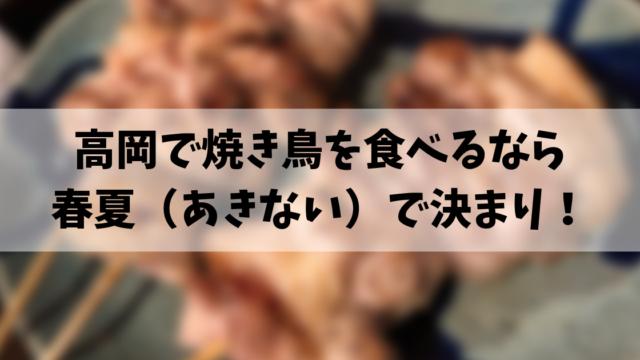 高岡で焼き鳥を食べるなら 春夏(あきない)で決まり!